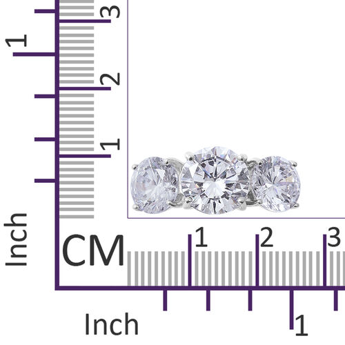 ELANZA Simulated Diamond (Rnd) Trilogy Ring in Rhodium Overlay Sterling Silver
