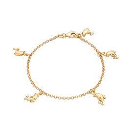 Children Dolphin Charm Belcher Bracelet in 9K Gold Size 6 Inch