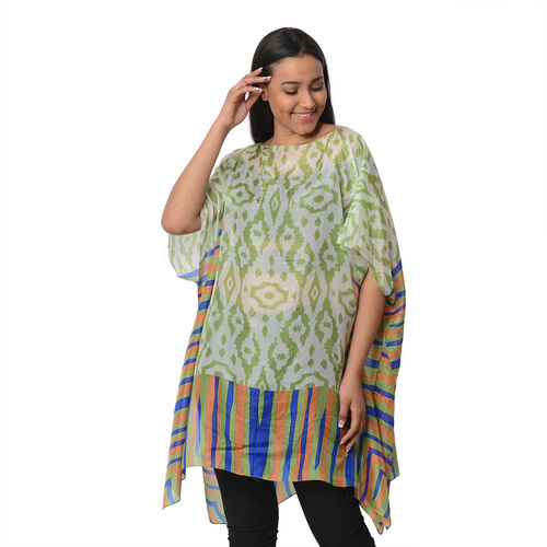 100% Mulberry Silk Kaftan One Size (90x100 Cm) - White, Green and Multi Colour