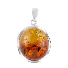 Baltic Amber Pendant in Sterling Silver, Silver wt 5.00 Gms
