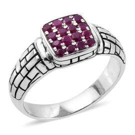 Bali Legacy Collection Burmese Ruby (Rnd) Ring in Sterling Silver 0.800 Ct.