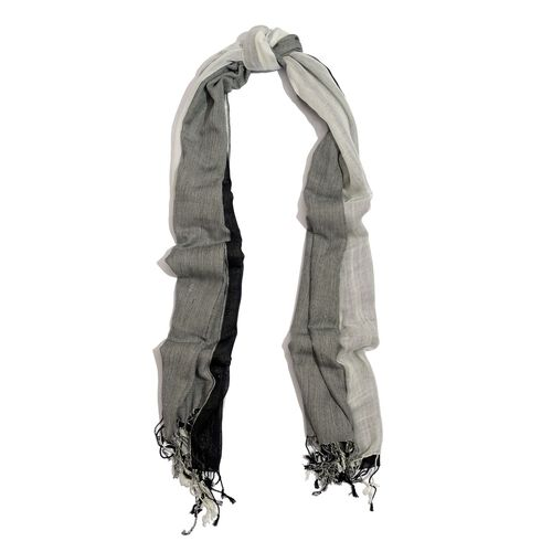 Black and White Colour Scarf (Size 180x70 Cm)