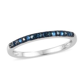 Blue Diamond (Rnd) Half Eternity Ring in Blue Overlay Sterling Silver