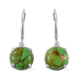Mojave Green Turquoise (Rnd) Earrings in Sterling Silver 6.000 Ct