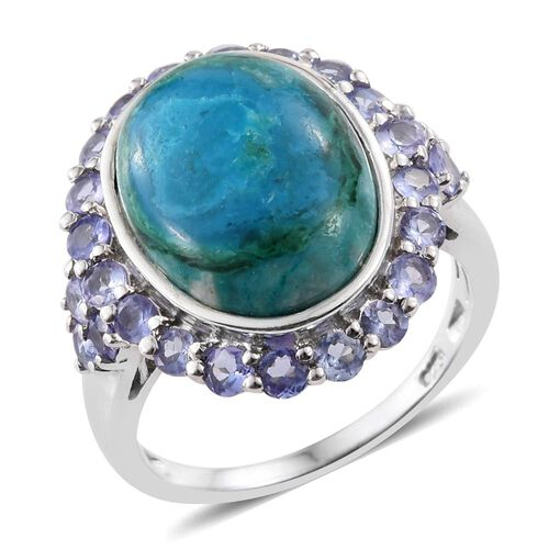 Natural Rare Opalina (Ovl 7.00 Ct), Tanzanite Ring in Platinum Overlay Sterling Silver 8.500 Ct.