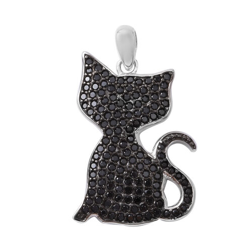 Boi Ploi Black Spinel (Rnd) Cat Pendant in Rhodium Overlay with Black Plating Sterling Silver 1.600 Ct.