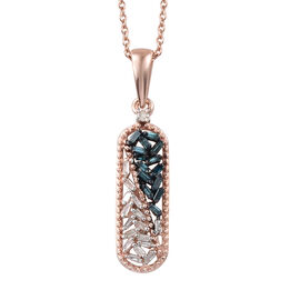 Blue Diamond (Bgt), White Diamond Pendant with Chain in Rose Gold and Platinum Overlay with Blue Pla