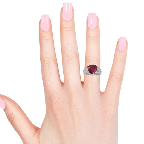 AAA African Ruby (Trl 6.05 Ct), Natural Cambodian White Zircon Ring in Rhodium Overlay Sterling Silver 7.330 Ct., Silver Wt. 5.40 Gms