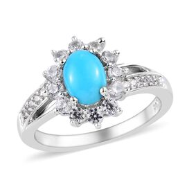 1.50 Ct Arizona Sleeping Beauty Turquoise and Zircon Halo Ring in Platinum Plated Sterling Silver