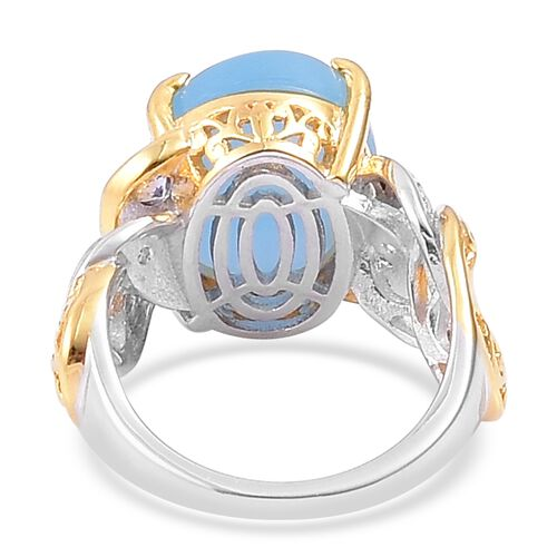 Blue Jade (Ovl), Tanzanite Ring in Yellow Gold and Rhodium Plated Sterling Silver 10.850 Ct. Silver wt. 5.73 Gms.