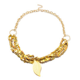 Gold Shell and Leaf Carved Yellow Shell Necklace in Gold Tone 32 with 3 inch Extender