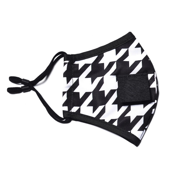 Reusable and Washable 2 Ply Face Cover with Straw Opening - Black and White