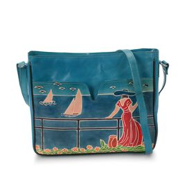 100% Genuine Leather Hand Painted Lady at the Cruise Crossbody Bag (29x6x24 Cm) - Blue Colour