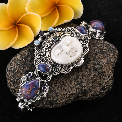 Princess Bali Collection Carved Face, Purple Mojave Turquoise, Amethyst,Larimar and Russian Diopside Bracelet (Size 8.50) in Sterling Silver 32.701 Ct, Silver wt 30.00 Gms