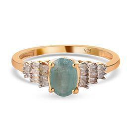Grandidierite and Diamond Ring in 14K Gold Overlay Sterling Silver 1.00 Ct.