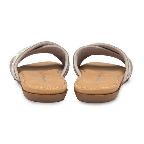Dunlop Embellished Open Toe Slip on Flat Slider Sandals (Size 5) - Silver