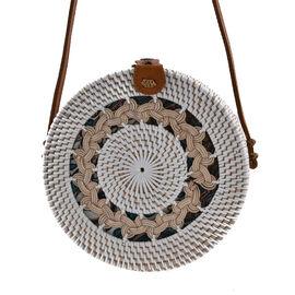 Designer Inspired - Handwoven Cream Colour Round Rattan Shoulder Bag