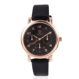 STRADA Japanese Movement Three Eye Chronograph Look Water Resistant Watch with Black Strap