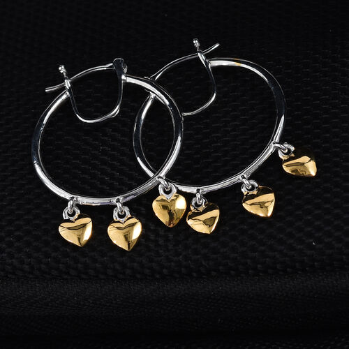 Platinum and Yellow Gold Overlay Sterling Silver Heart Drop Hoop Earrings (with Clasp)