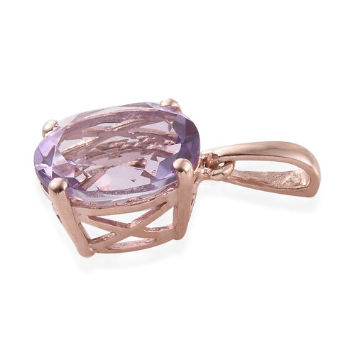 Rose De France (Ovl 10x8 mm) Solitaire Pendant in Rose Gold Overlay Sterling Silver 2.500 Ct.