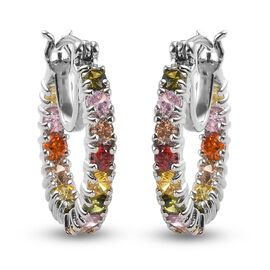One Time Deal - Simulated Multi Colour Diamond Hoop Earrings in Platinum Plated