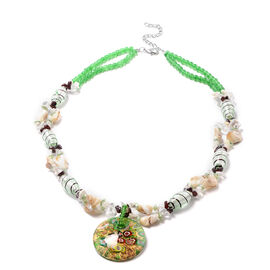 Green Murano Beads, White Austrian Crystal, Red Garnet and Multi Gemstone Nceklace (Size 28 with 3 i