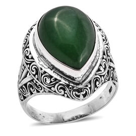 Royal Bali Collection Green Jade (Pear 18x13 mm) Ring in Sterling Silver 13.170 Ct, Silver wt 6.94 Gms.