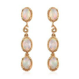 Ethiopian Welo Opal (Ovl) Earrings (with Push Back) in 14K Gold Overlay Sterling Silver 1.750 Ct.