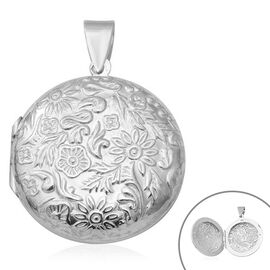 Rhodium Overlay Sterling Silver Flower Engraved Locket Pendant, Silver wt. 7.00 Gms