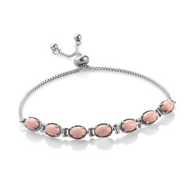 Pink Howlite (Ovl) Bolo Bracelet (Size 6.5 - 8.5 Adjustable) in Stainless Steel   4.750 Ct.
