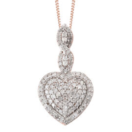 Diamond (Rnd) Heart Pendant with Chain (Size 20) in Rose Gold Overlay Sterling Silver 0.320 Ct
