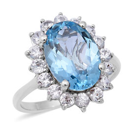 8.93 Ct AAA Sky Blue Topaz and Zircon Halo Ring in Rhodium Plated Sterling Silver
