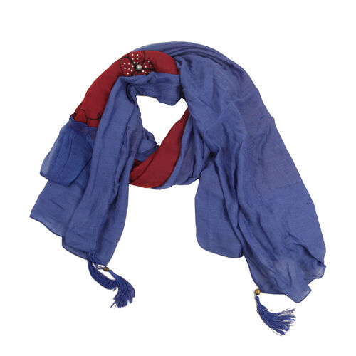 Floral Pattern Blue and Red Colour Scarf with Resin Crystal (Size 180x70 Cm)