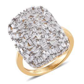 Designer Inspired - Fireworks Diamond (Bgt) Cluster Ring in 14K Gold Overlay Sterling Silver 1.000 C