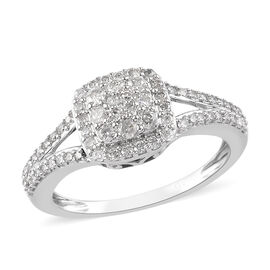 9K White Gold SGL Certifed Diamond (G-H/I3) Cluster Ring 0.50 Ct.