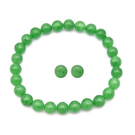 2 Piece Set -  Green Jade Stretchable Bracelet (Size 7.5) and Stud Earrings (with Push Back) in Ster