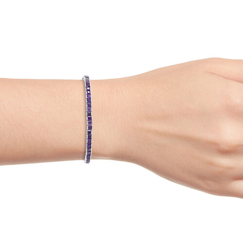 Limited Edition- PRINCESS CUT Amethyst (Sqr) Bracelet (Size 7.5) in Platinum Overlay Sterling Silver 9.000 Ct, Silver wt 8.67