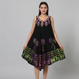 100% Viscose Tree Pattern Tie Dye Palm Women Dress (Size:100x120Cm) - Black