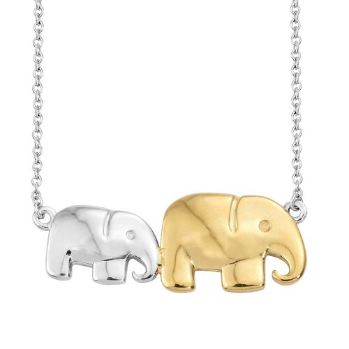 Mother Elephant with Baby Necklace in Platinum and Gold Plated Silver 18 Inch 5.93 Gms.