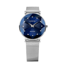 Jowissa -Facet Swiss Water Resistant Blue Dial Bracelet Watch with Star Cut and Stainless Steel Mesh