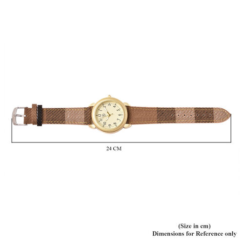 STRADA Japanese Movement Watch with Khaki Strap and Gold Tone Dial