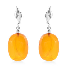 Baltic Amber (Cush) Earrings (with Push Back) in Sterling Silver