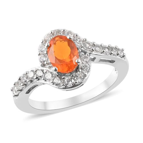 1.25 Ct Fire Opal and Zircon Halo Ring in Platinum Plated Sterling Silver