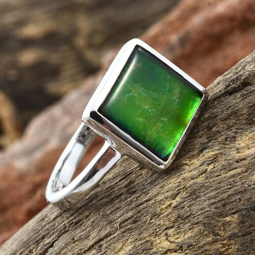 Canadian Ammolite (Sqr 10mm) Solitaire Ring in Platinum Overlay Sterling Silver 3.000 Ct.