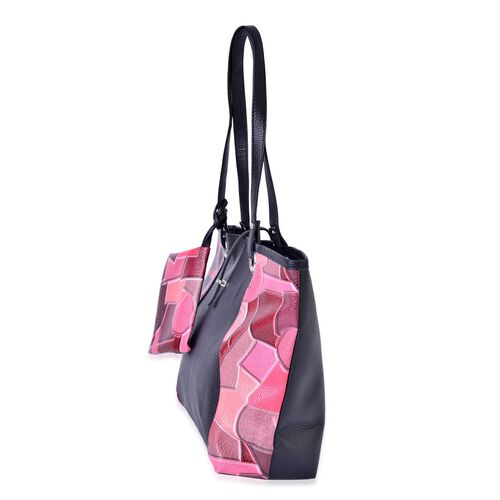 Set of 2 - Peach, Brown and Black Colour Checks Pattern Handbag (Size 42x33x30x11.5 Cm) and Pouch (Size 15x12 Cm)