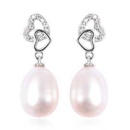 Freshwater White Pearl  Drop Earrings (with Push Back) in Rhodium Overlay Sterling Silver