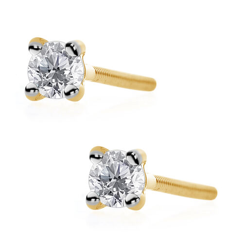 ILIANA 18K Yellow Gold IGI Certified Diamond (Rnd) (SI/G-H) Stud Earrings (with Screw Back) 0.250 Ct.