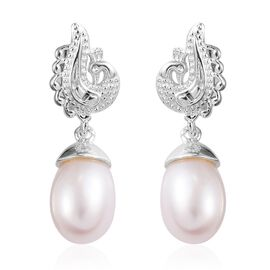 Freshwater Pearl Peacock Drop Earrings in Sterling Silver