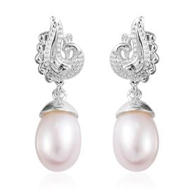 Freshwater Pearl Peacock Earrings (with Push Back) in Sterling Silver, Silver wt 3.15 Gms