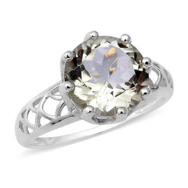 Prasiolite (Rnd 11 mm) Solitaire Ring in Sterling Silver 4.47 Ct.